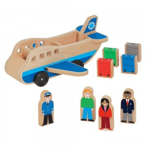 Melissa & Doug Wooden Airplane Play Set With 4 Play Figures and 4 Suitcases Clearance Sale