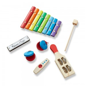 Melissa & Doug Band-in-a-Box Hum! Jangle! Shake! - 7-Piece Musical Instrument Set Clearance Sale