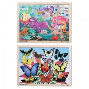 Melissa & Doug Wooden Jigsaw Puzzle Set - Mermaids and Butterflies 96pc Clearance Sale
