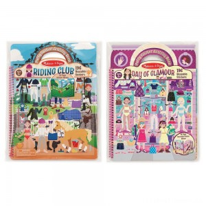 Melissa & Doug Deluxe Puffy Sticker Activity Book Set: Day of Glamour and Riding Club - 392 Reusable Stickers Clearance Sale