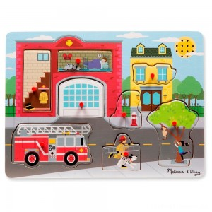 Melissa & Doug Around the Fire Station Sound Puzzle - Wooden Peg Puzzle (8pc) Clearance Sale