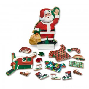Melissa & Doug Santa Wooden Dress-Up Doll and Stand With Magnetic Accessories (22pc) Clearance Sale