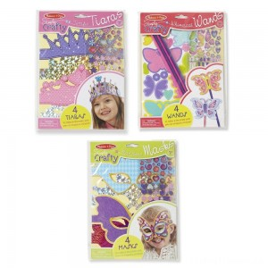 Melissa & Doug Simply Crafty Activity Kits Set: Terrific Tiaras, Marvelous Masks, Whimsical Wands (Makes 4 of Each) Clearance Sale