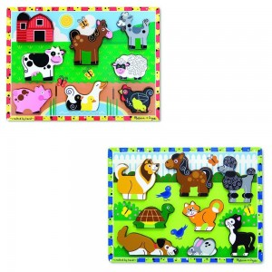 Melissa & Doug Wooden Chunky Puzzles Set - Farm and Pets 16pc Clearance Sale