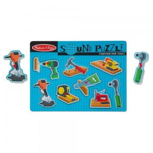 Melissa & Doug Construction Tools Sound Puzzle - Wooden Peg Puzzle (8pc) Clearance Sale