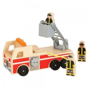 Melissa & Doug Wooden Fire Truck With 3 Firefighter Play Figures Clearance Sale