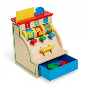 Melissa & Doug Spin and Swipe Wooden Toy Cash Register With 3 Play Coins and Pretend Credit Card Clearance Sale