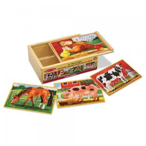Melissa & Doug Farm 4-in-1 Wooden Jigsaw Puzzles in a Storage Box (48pc total) Clearance Sale